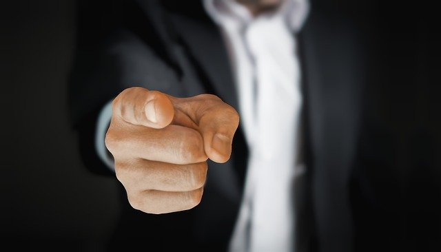 man, pointing, business